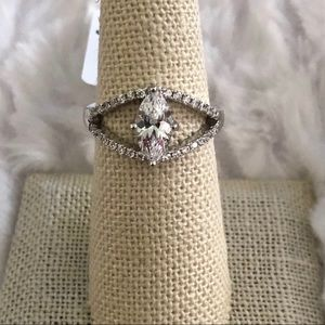 Marquise open work silver ring